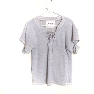 McGuire Lace Up Cut-Out Sleeve Top